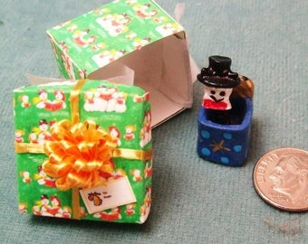Holiday Sale 40% Off - Miniature Snowman Jack in a box toy in a Green Gift Box with a gold bow on top
