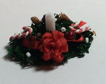 Holiday Sale 40% Off - Hand Made Christmas Centerpiece with White Candle - 1