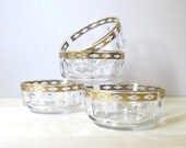 vintage culver valencia gold edged fruit bowls thumbprint glass sauce dish set of four arcoroc france