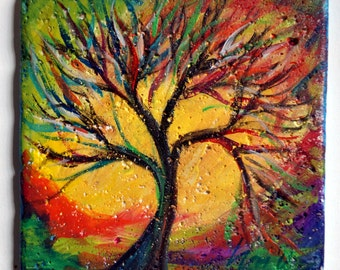 Hand Painted Kitchen Art Tile Seasons Tree of Life Miniature Painting on Stone by Luiza Vizoli
