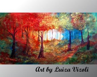 Original Abstract Large Painting Trees Landscape Summer Fall Huge Canvas MAGICAL 72x40 Art by Luiza Vizoli