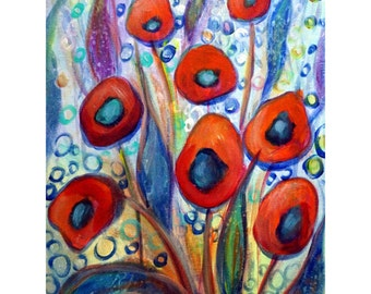 Red Poppy Flowers Oil painting on canvas Whimsical Colorful Artwork by Luiza Vizoli