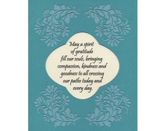 Spirit of Gratitude verse Art compassion kindness goodness paper cut border 8X10 unframed