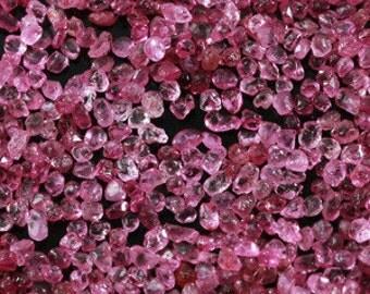 Pink Sapphire gemstone pieces  - tumbled raw rough stone crystal  - heated -  tiny pebble chip sand bright light pink - corundum bag48ix