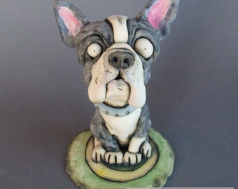 Boston Terrier Dog on Rug Ceramic Wall Sculpture