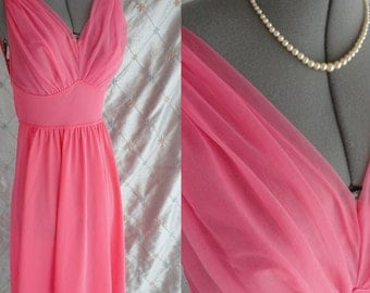 60s Vanity Fair // Vintage 1960's Coral Pink Vanity Fair Nightgown with Chiffon Bust 3/4 length Size 32
