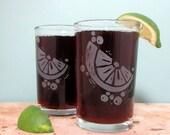 Lemon Slice Etched Glassware (Large) -Tumblers  -Old Fashioned -Can Glasses -Mason Mugs -Ceramic Mugs -Pints Sandblasted Austin Texas
