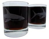 Shark Great White Etched Glassware (Large) -Tumblers  -Old Fashioned -Can Glasses -Mason Mugs -Ceramic Mugs -Pints Sandblasted Austin Texas