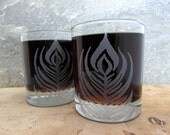 Peacock Feather Etched Glassware (Large) -Tumblers  -Old Fashioned -Can Glasses -Mason Mugs -Ceramic Mugs -Pints Sandblasted