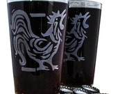 Rooster Chicken Etched Glassware (Large) -Tumblers  -Old Fashioned -Can Glasses -Mason Mugs -Ceramic Mugs -Pints Sandblasted Austin Texas