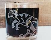 Velociraptor Dinosaur Etched Glassware (Large) -Tumblers  -Old Fashioned -Can Glasses -Mason Mugs -Ceramic Mugs -Pints Sandblasted