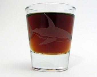 Great White Shark | Etched Whiskey Shot Glass | Shark Week | Shark Gift | Aquarium | Surfer Decor
