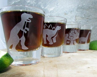 Dinosaur Set of 4 - Etched Glassware (Small) -Shots -Juice Glasses -Red Wine Glasses -White Wine Glasses (Stemless)