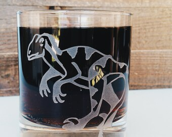 Velociraptor Dinosaur | Raptor | Etched Engraved Glass | Whiskey Glass | Rocks Glass | Dinosaur Gift | Dinosaur Decor | Gift for Him