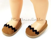 Shoes fit Disney Animator Dolls, Caramel Brown, Handmade Canvas Shoes