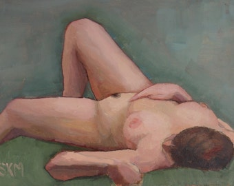 Nude study, figurative, oil painting, oil study, representational art, home decor, gift idea, female figure