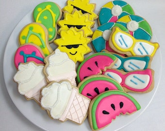 SUMMER FUN COOKIES, Decorated Sugar Cookie Gift Tin, 18 Cookies