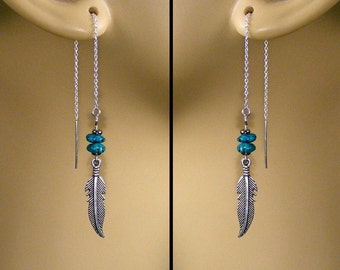Sterling Silver Turquoise Nugget & Silver Feather Ear Threads