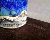 Wanderlust - Mountain Mug - Moon Mug - Turquoise - Blue - Tea Cup - Coffee Mug - Espresso - Latte - Wanderer