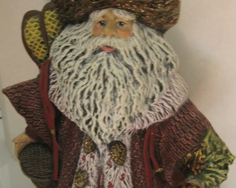 Vintage Heavy Hand Made Christmas Santa Claus, Deep Maroon Color With Sparkle, Holding Basket, Snowshoes