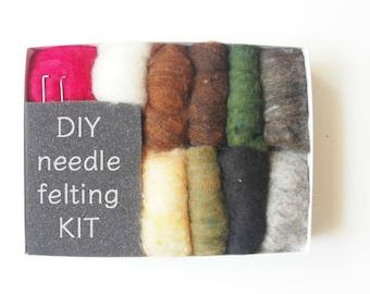 Needle Felting Kit Beginner - Wool - Starter Kit - Tools Needles Supplies - DIY Craft Kit - Natural Brown Wool Roving - DIY Home Decor
