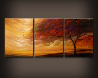 large art original painting wall art abstract painting minimalist impressionist tree painting landscape cloud painting 54 X 24 wall hanging