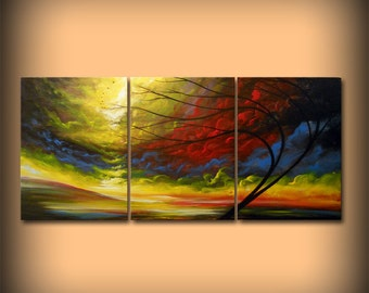 large wall art home and living decor wall hanging surreal abstract painting acrylic lollipop tree painting retro mid century 24 x 54""