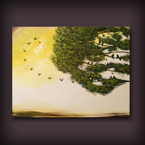 spring abstract tree painting cloud painting large landscape abstract