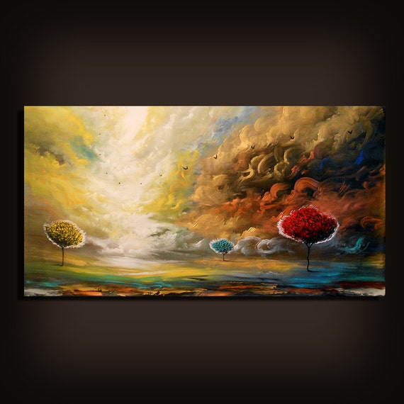 "64 x 31"" art original painting abstract sunset landscape painting Original Painting unstretched"