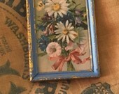 vintage daisy bouquet vintage daisies framed flowers shades of blue flower art