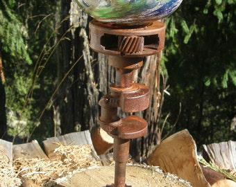 steampunk, green clunker, rusty recycled car parts