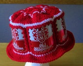 Crocheted Beer Can Hat - Old Milwaukee