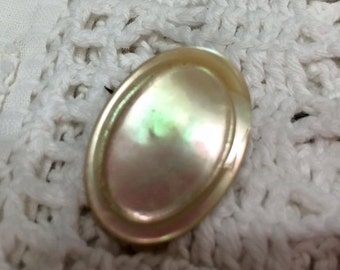 Vintage Victorian Mother of Pearl Brooch pin oval jewelry