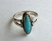 Vintage Sterling Turquoise Ring Southwest Bell Trading Co  Size 6.5 Old Stock