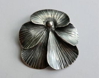 Vintage Sterling Stuart Nye Brooch Pansy Flower Pin