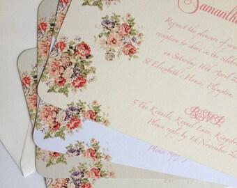 Vintage Floral Wedding Invites; Pastel invitations; flower bouquet wedding invites, English country wedding invites; flat invitations
