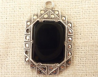 Antique Art Deco Onyx Pendant Set in Sterling and Marcasite Frame