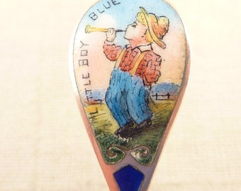 Antique Sterling Enameled Little Boy Blue Rogers, Lunt & Bowlen Monogrammed Baby Food Pusher