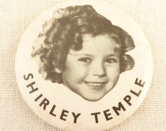 SALE --- Vintage Pocket Mirror Shirley Temple Button