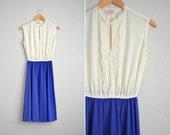 vintage '70s CREAM & blue-purple LACE trim sleeveless MIDI dress. size m l.