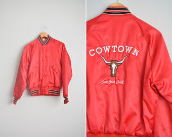 "Size S // ""COWTOWN"" CLUB JACKET // Red Nylon Baseball Jacket - San Jose, California - Size 36-38 - Vintage '60s."
