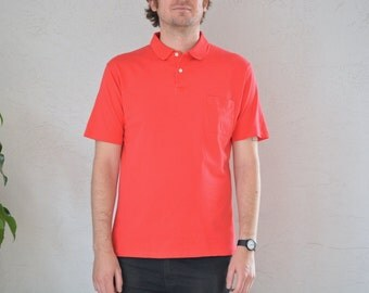 SALE // Size M // RED POLO Shirt // Red - Short Sleeve - Minimalist - Preppy - Vintage '70s/'80s.