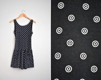 SALE // Size XS/S // TARGET Print Cut-Out Back Dress // Black & White - Sleeveless - Drop Waist - Vintage '90s.