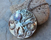 Octopus and Moonstone Necklace- Rainbow patina bronze pendant with gem - oxidized sterling silver rope chain -  Free shipping USA