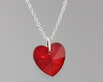 Siam Ruby Red Crystal Heart Necklace - gorgeous red Swarovski heart on sterling silver chain - also available in gold,  free shipping USA