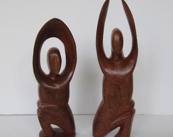 Solid Wood Yoga Figures