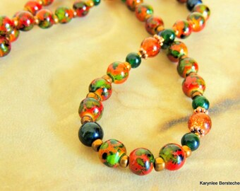 Autumn Porcelain and Green Jade Necklace, Orange and Green, Handcrafted Jewelry, Fall Jewelry, Copper Jewelry
