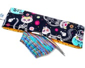 Stitch Holder Point Protector Zipper Pouch Needle Nook - DPN and Circular Project Holder - Day Of The Dead Kitties