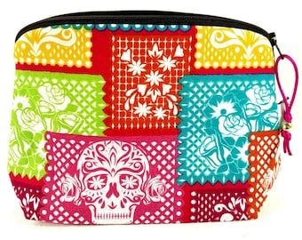 Zippered NOTIONS BAG with zipper pull - Papel Picado Dia de los Muertos