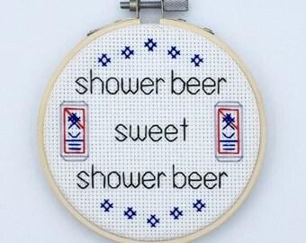 Shower beer cross stitch